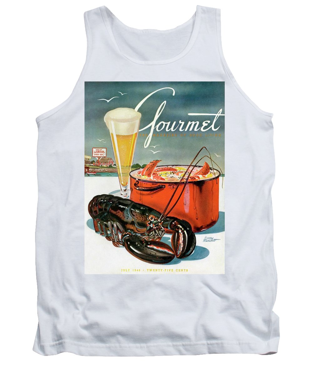 Illustration Tank Top featuring the photograph A Lobster And A Lobster Pot With Beer by Henry Stahlhut