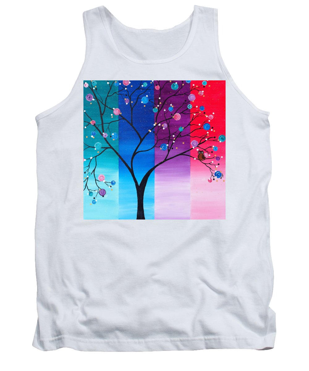 Black Tree Tank Top featuring the painting A Lone Owl by Wendy Provins