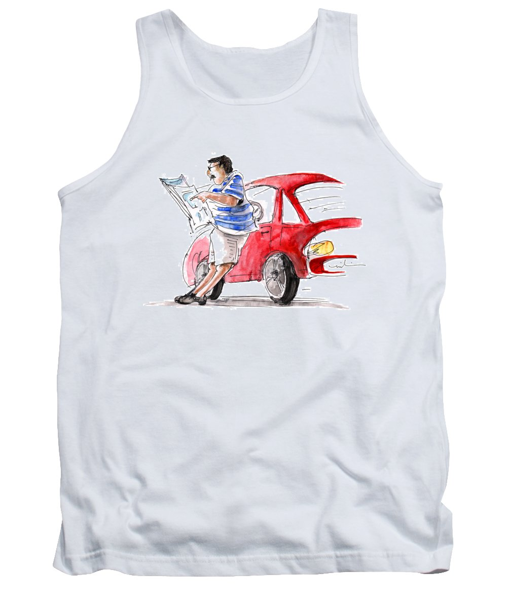 Sketch Tank Top featuring the painting A Man And His Car And His Newspaper by Miki De Goodaboom
