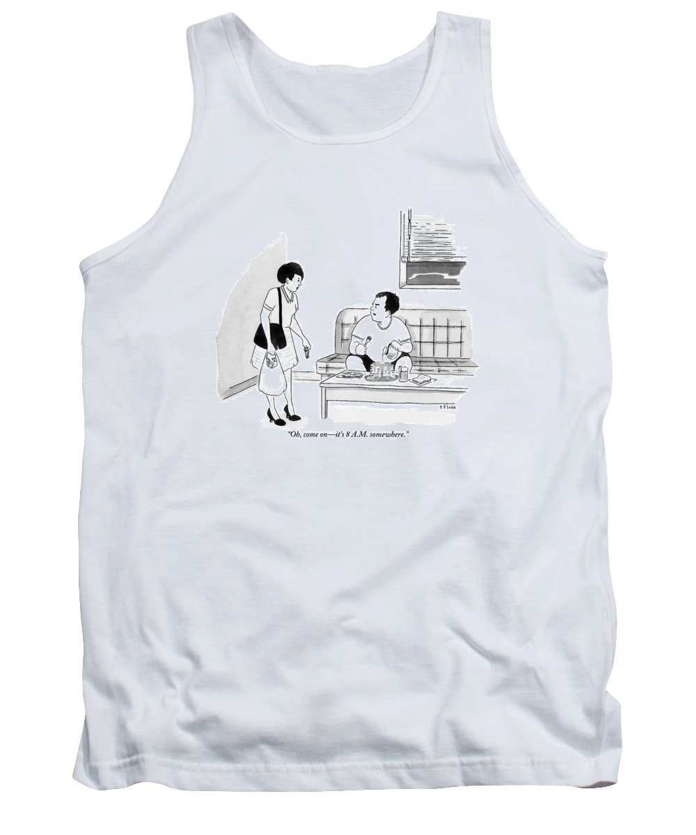 Pancakes Tank Top featuring the drawing A Man Sits Pouring Syrup Over A Stack Of Pancakes by Emily Flake