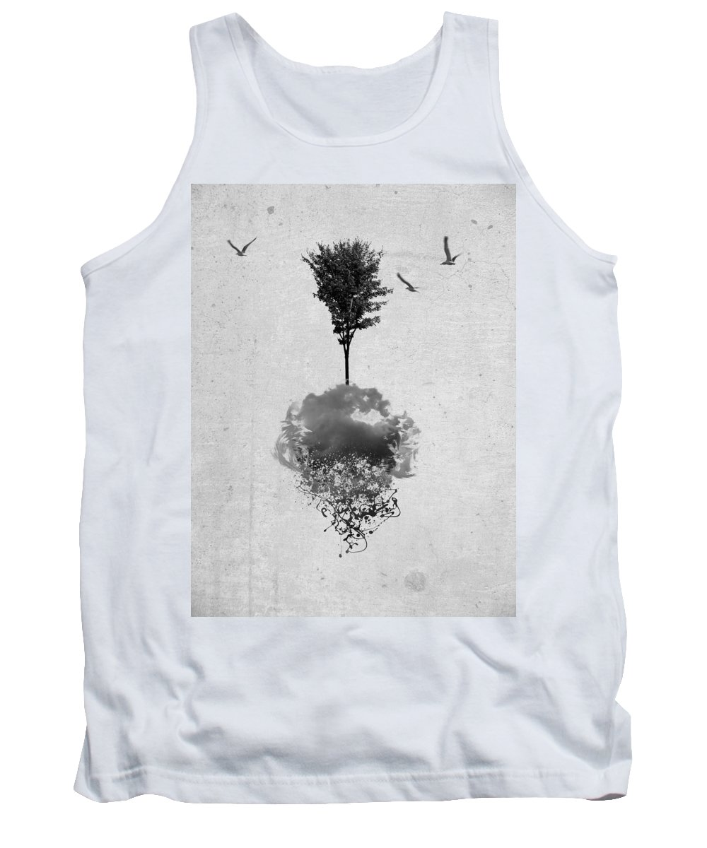 Abstract Tank Top featuring the photograph Tree Birds Clouds Abstract Paint Drips by Andy Gimino