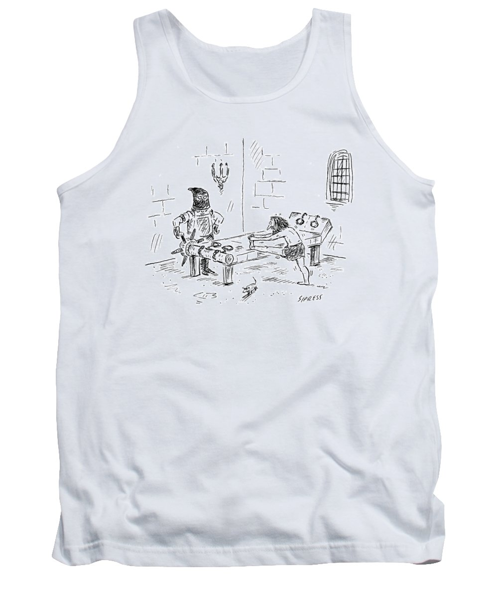 Athletes Tank Top featuring the drawing A Prisoner Is Seen Stretching On A Torture Rack by David Sipress