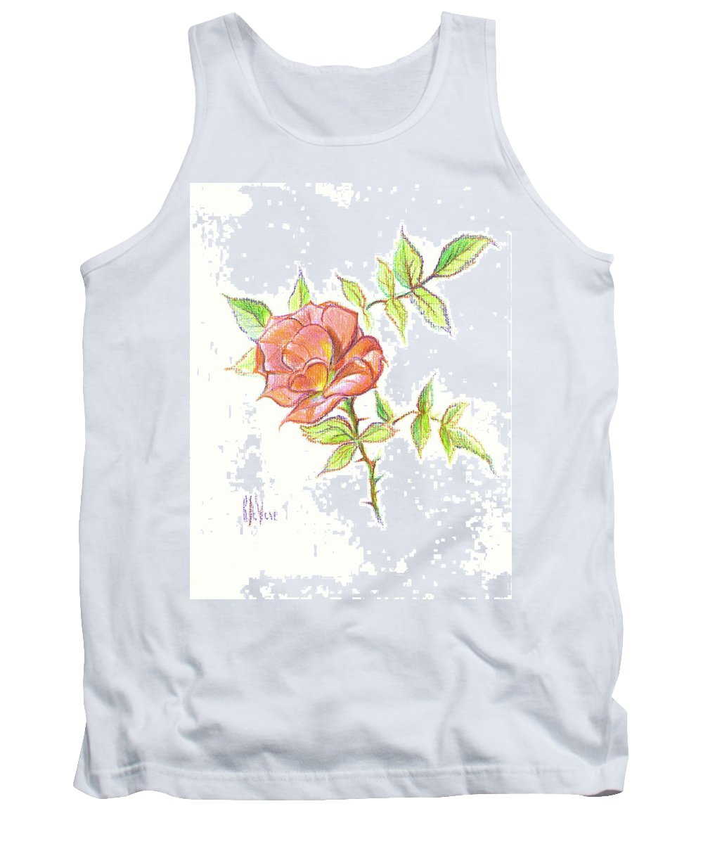 A Rose In Brigadoon Tank Top featuring the drawing A Rose In Brigadoon by Kip DeVore