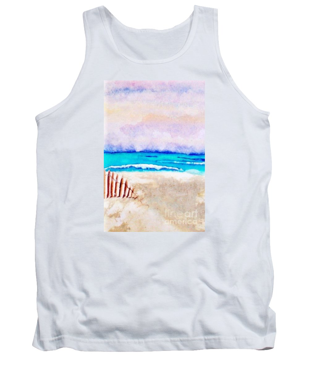 Watercolor Painting Tank Top featuring the painting A Sand Filled Beach by Chrisann Ellis