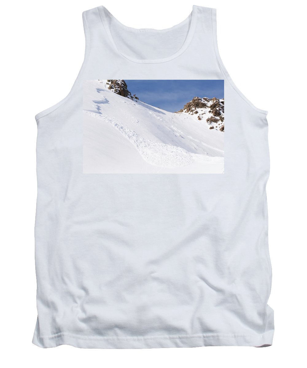 Absence Tank Top featuring the photograph A Small Slab Avalanche With Two Guides by Jeff Curtes