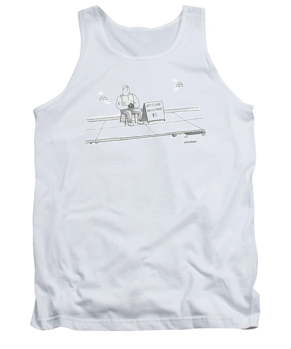 Captionless Tank Top featuring the drawing A Strong Man With A Tattoo Of An Anchor by Jason Patterson