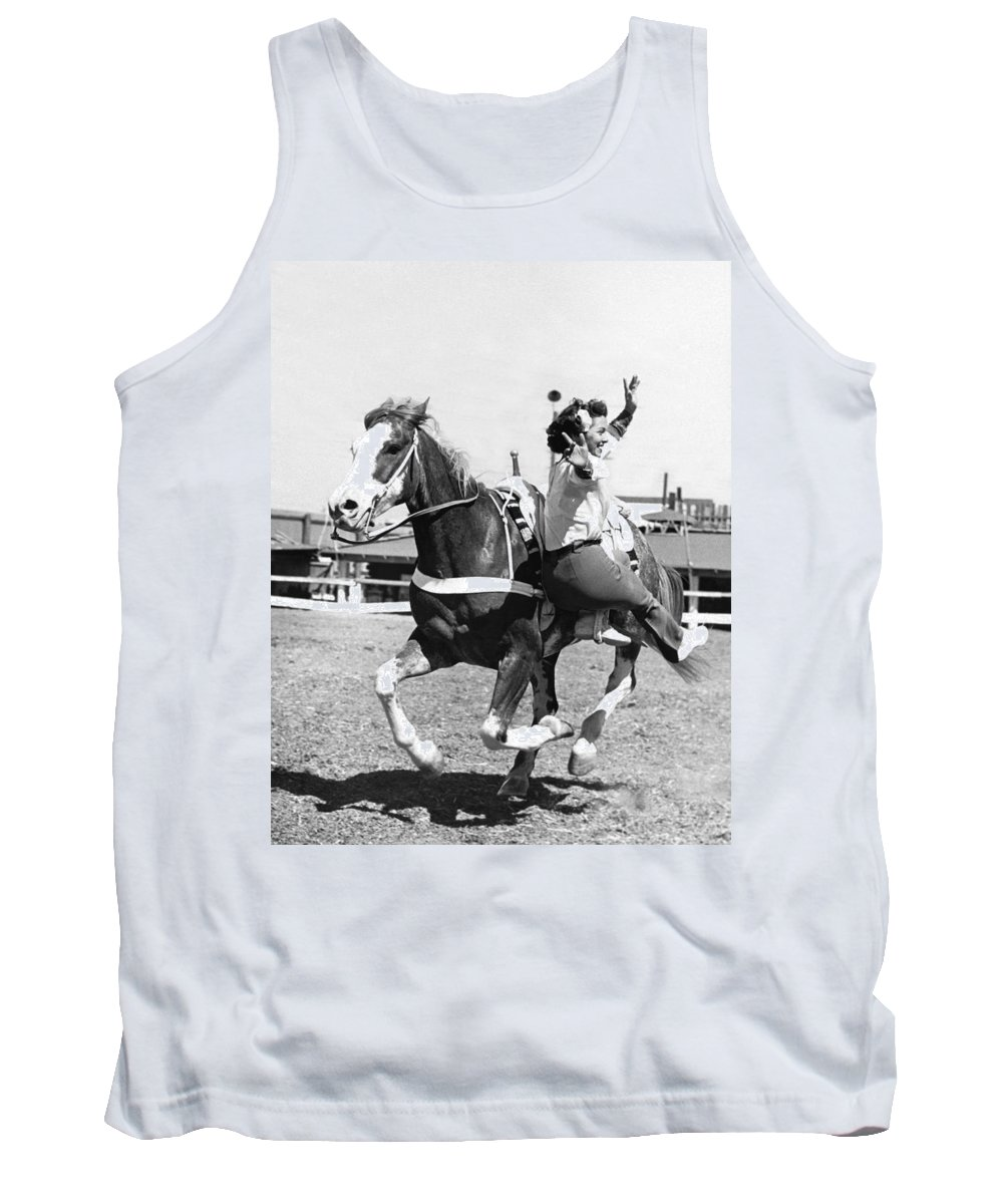 1947 Tank Top featuring the photograph A Trickriding Cowgirl by Underwood Archives