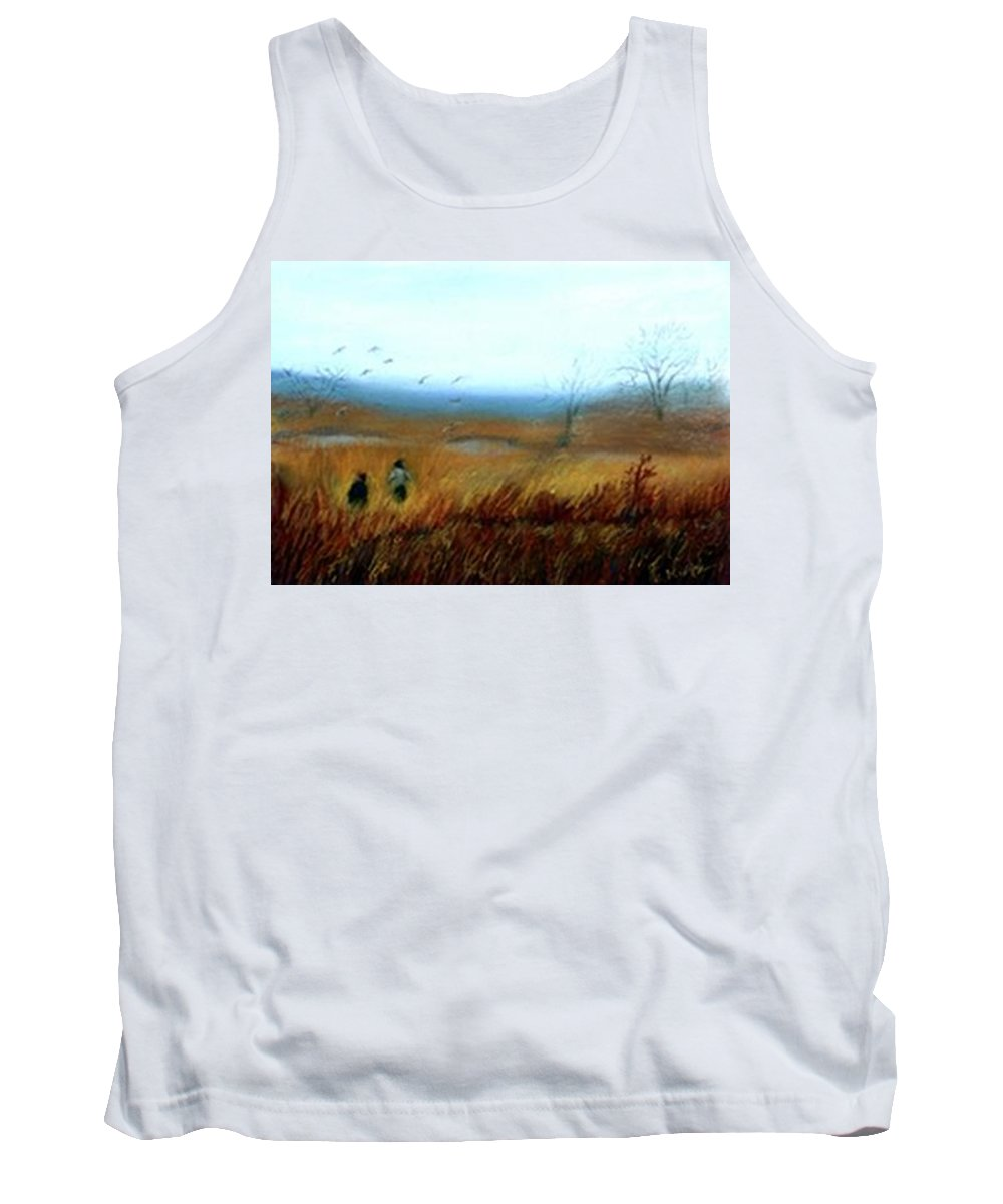 Figures Tank Top featuring the painting A Winter Walk by Gail Kirtz