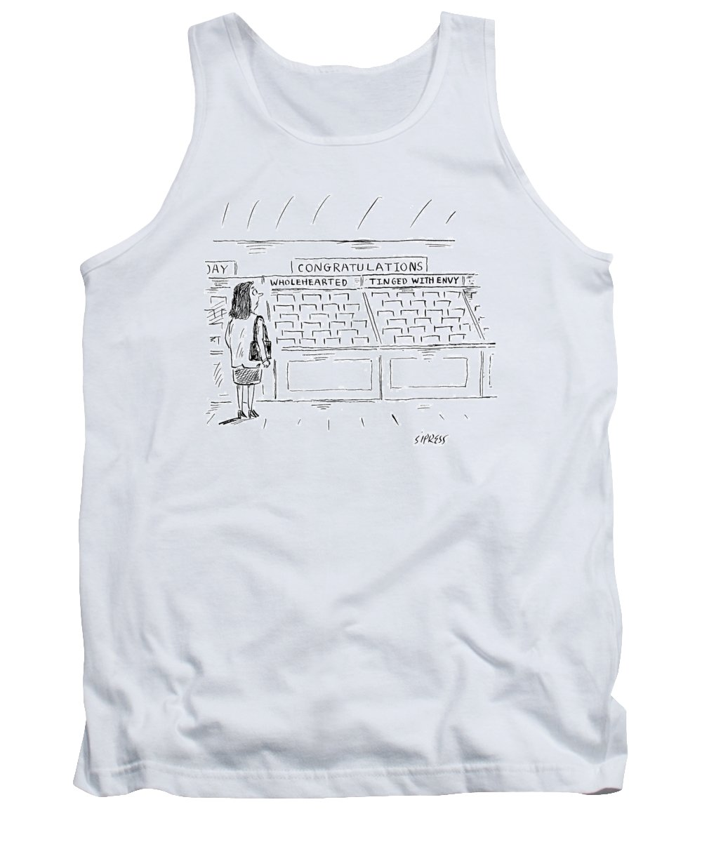 Congratulations Tank Top featuring the drawing A Woman In A Greeting Card Aisle Looks At Two by David Sipress