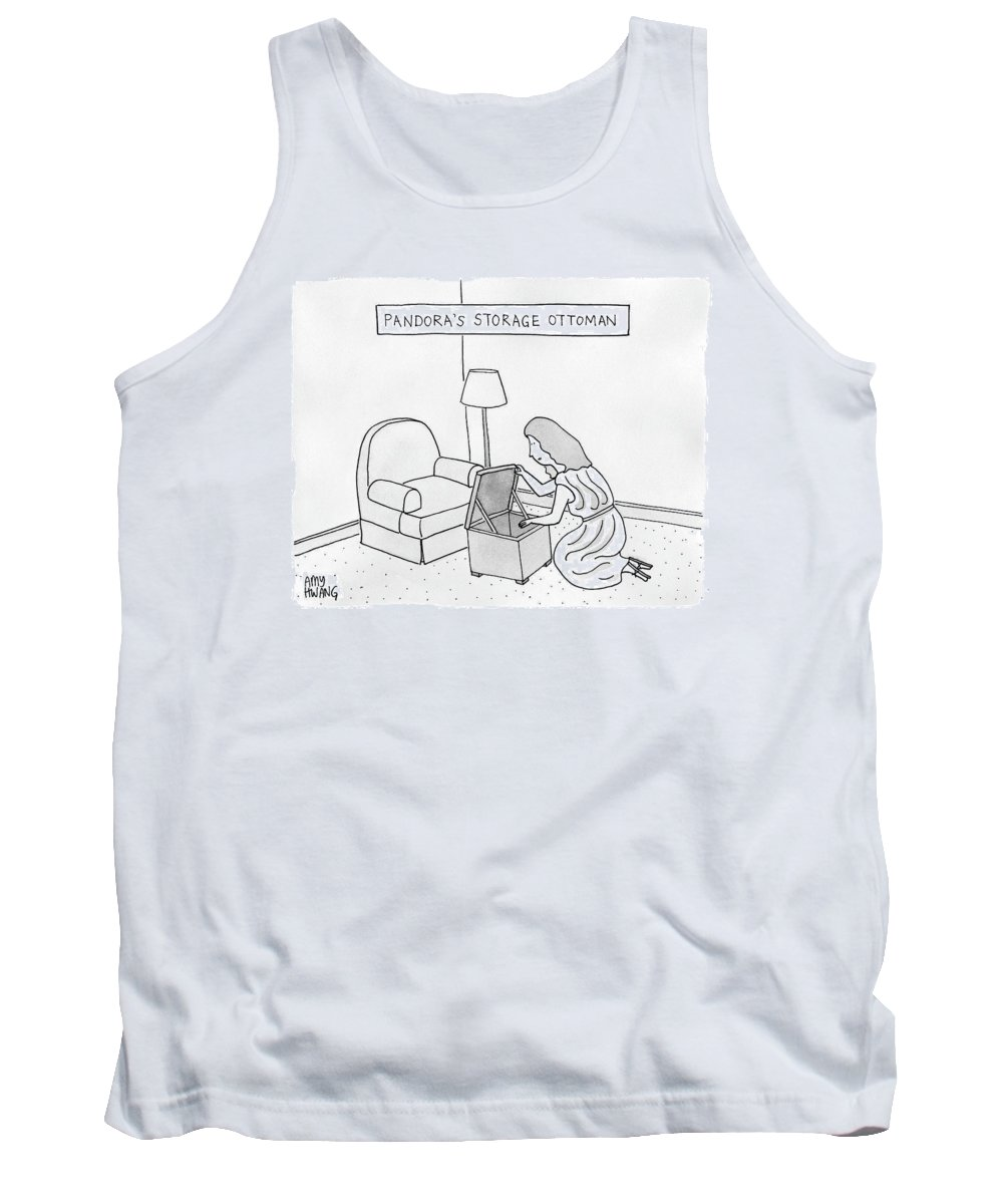 Captionless Pandora's Box Tank Top featuring the drawing A Woman Looks Down Into A Storage Ottoman -- by Amy Hwang