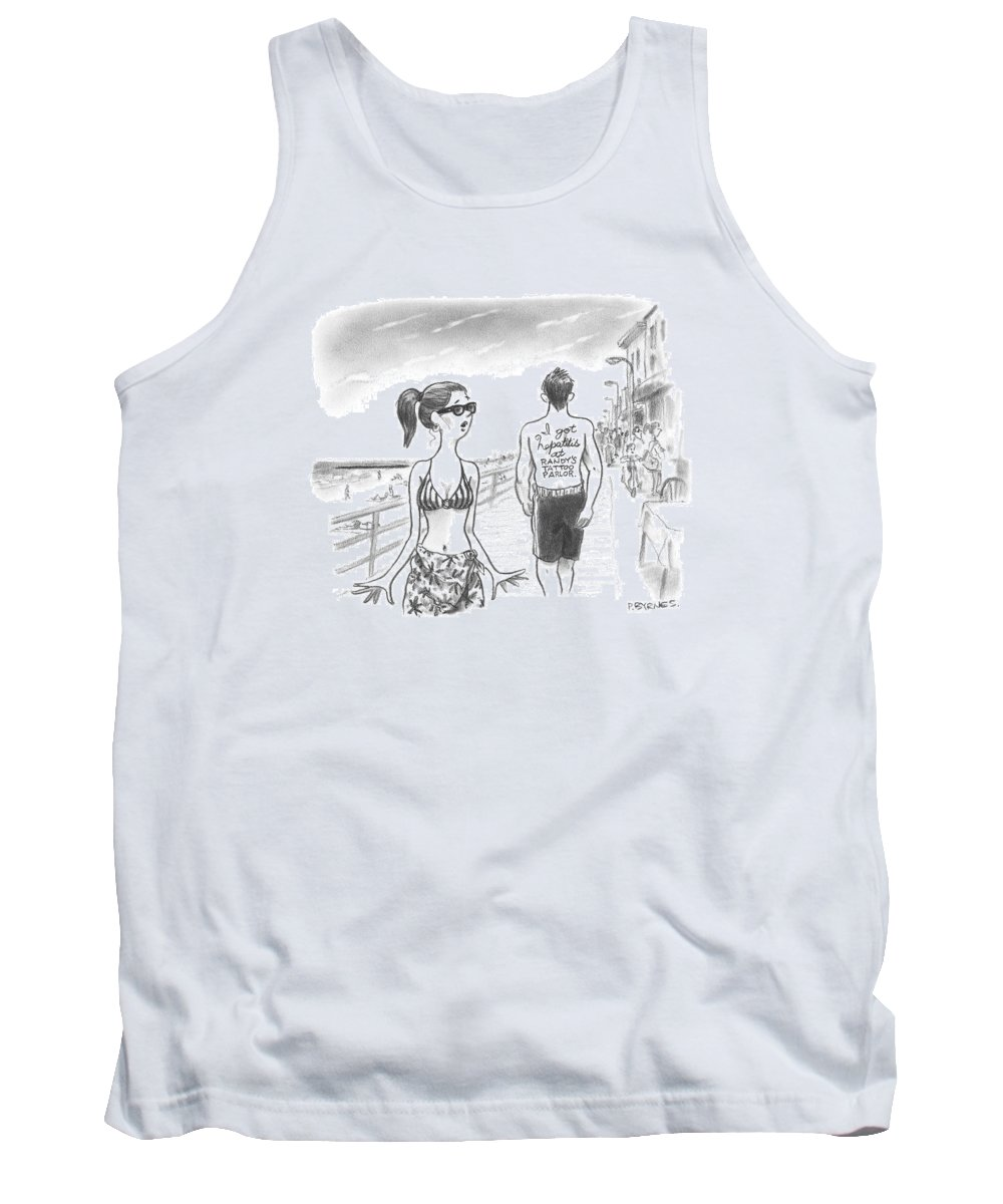 Tattoos Tank Top featuring the drawing A Woman Passes A Man On The Boardwalk. Tattooed by Pat Byrnes
