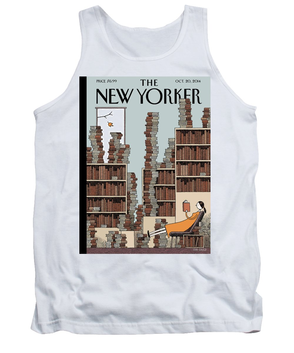 Books Tank Top featuring the painting Fall Library by Tom Gauld