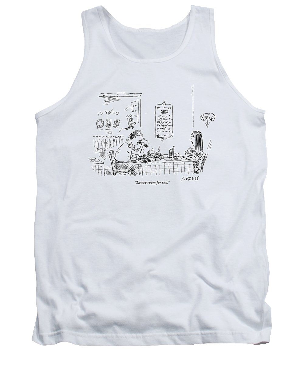 Food Tank Top featuring the drawing A Woman With Her Arms Crossed Addresses by David Sipress