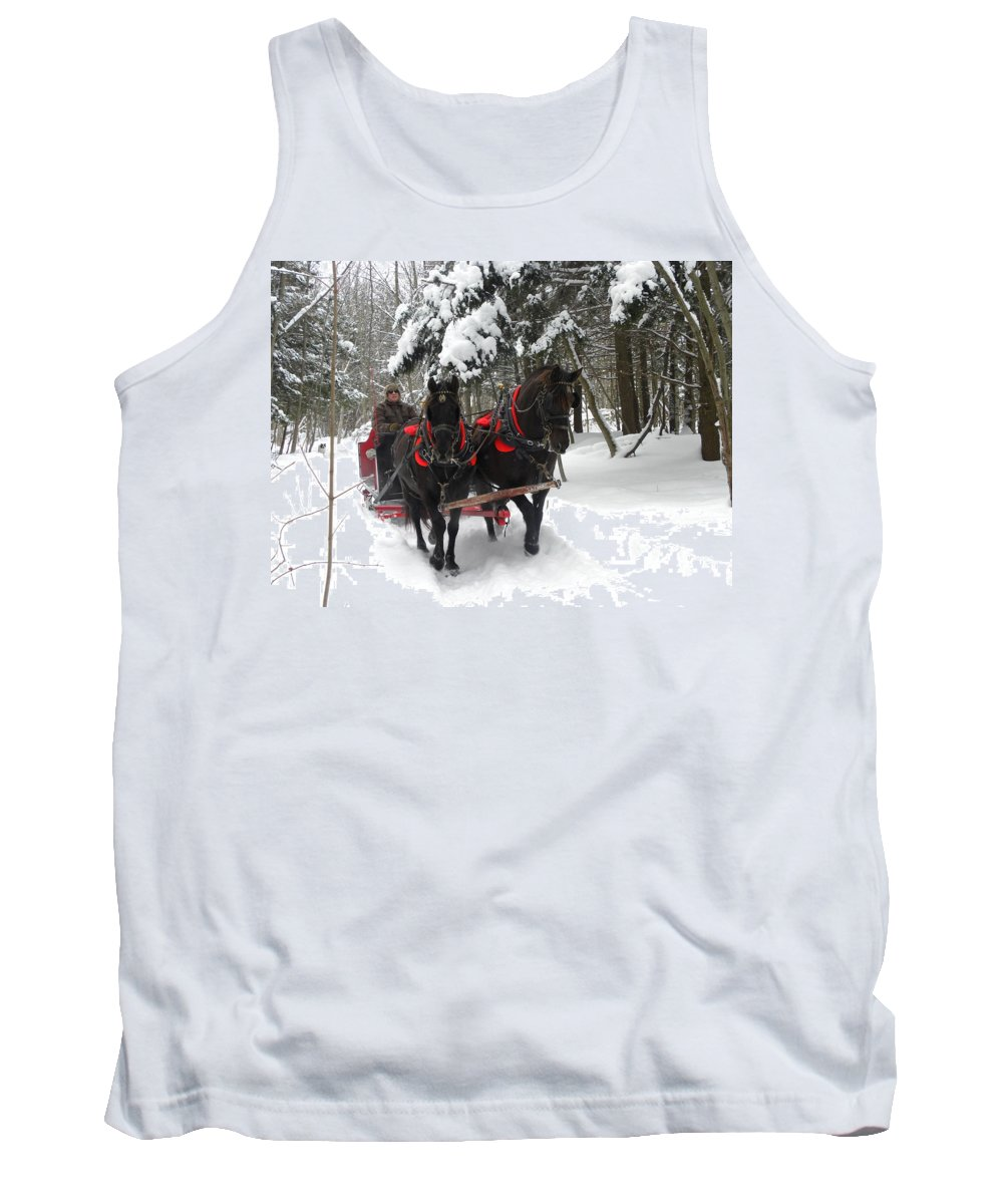 Angus Mcdonald Tank Top featuring the photograph A Wonderful Day For A Sleigh Ride by Peggy McDonald