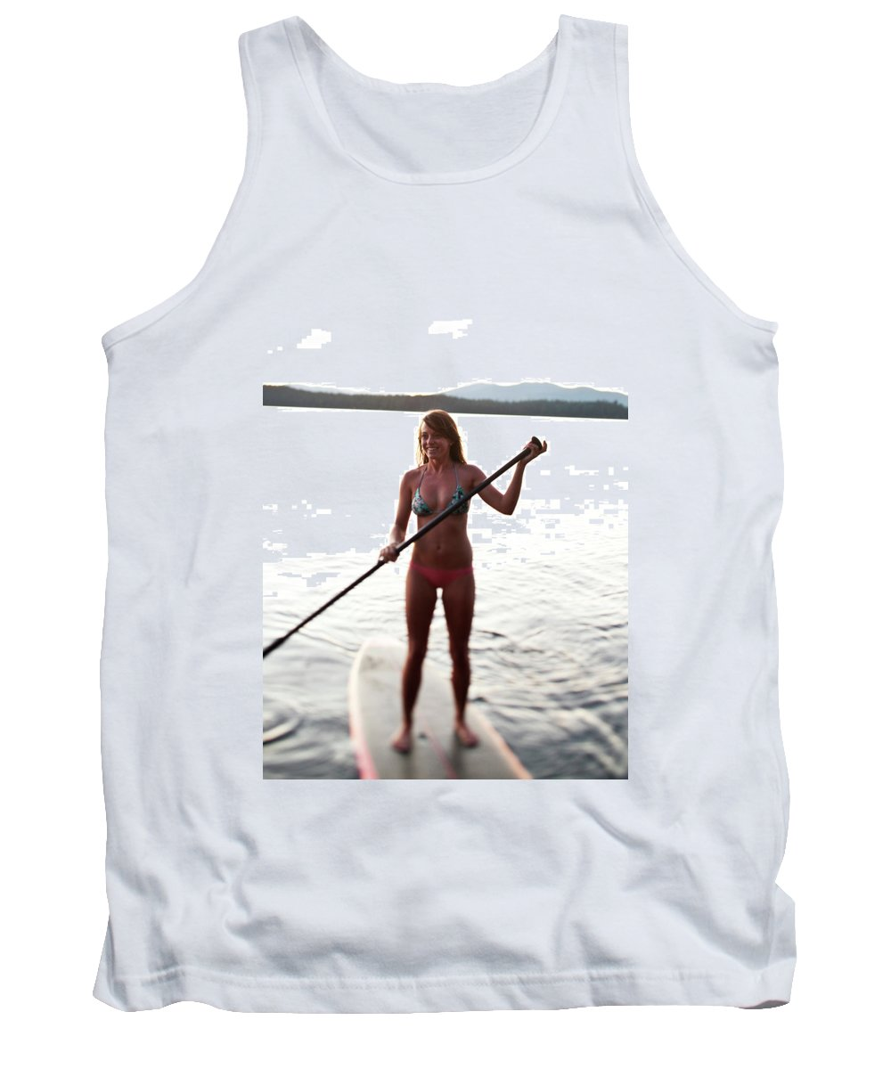 20-24 Years Tank Top featuring the photograph A Young Woman Smiles While Stand by Patrick Orton