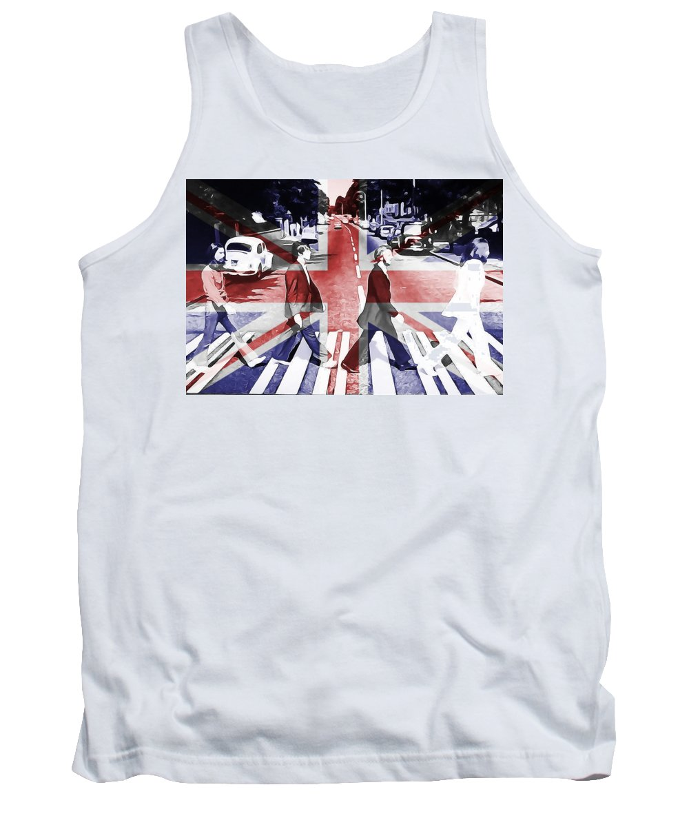 Abbey Road Union Jack Tank Top featuring the digital art Abbey Road Union Jack by Dan Sproul