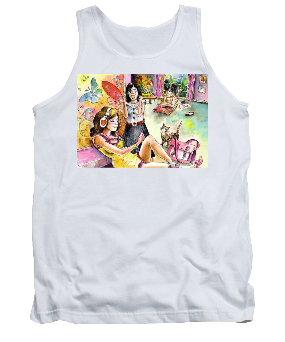 Books Tank Top featuring the painting About Women And Girls 03 by Miki De Goodaboom