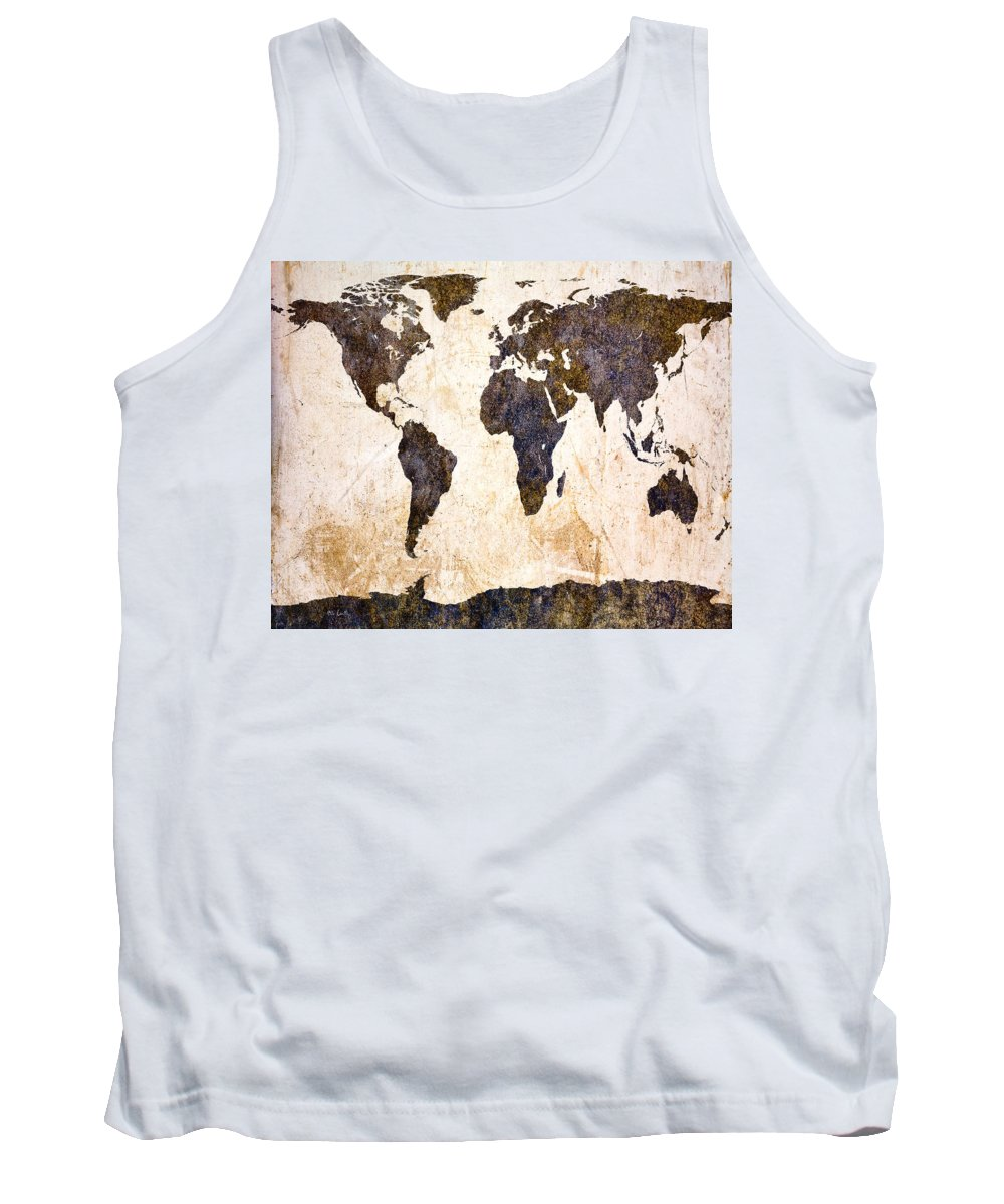 Map Tank Top featuring the digital art Abstract Earth Map by Bob Orsillo