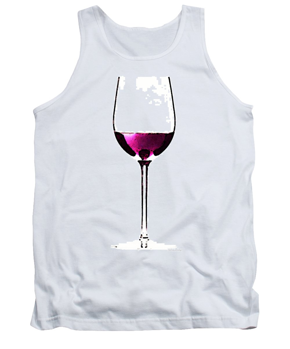 Sharon Cummings Tank Top featuring the painting Abstract Red Wine Glass 2 by Sharon Cummings