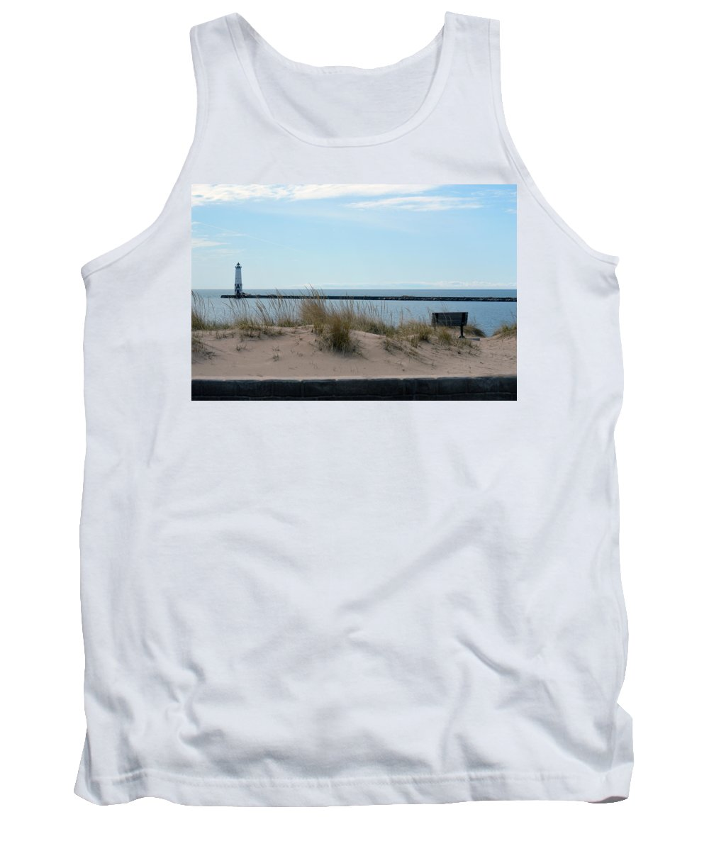 Frankfort Lighthouse Tank Top featuring the photograph Across The Water by Linda Kerkau