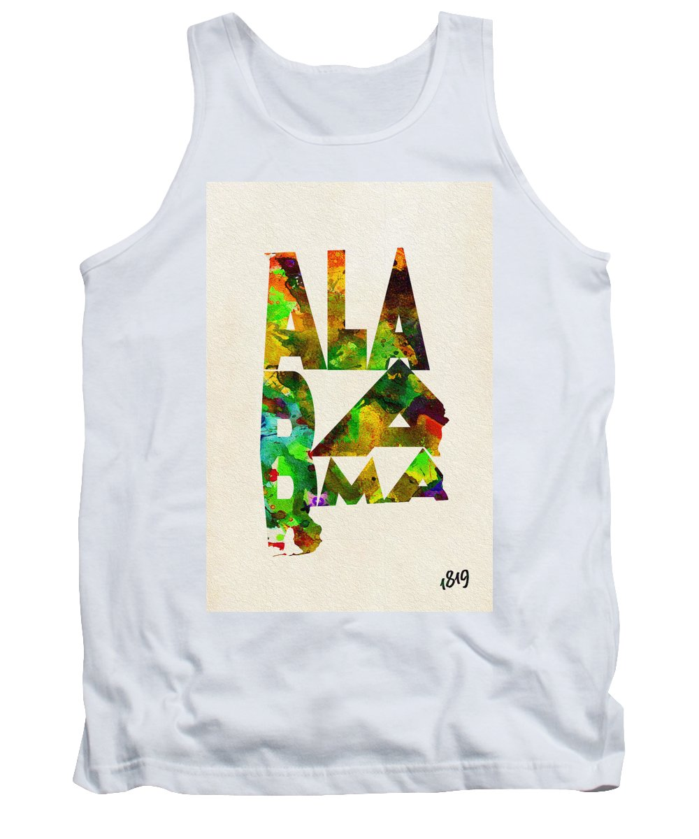 Alabama Tank Top featuring the painting Alabama Typographic Watercolor Map by Inspirowl Design