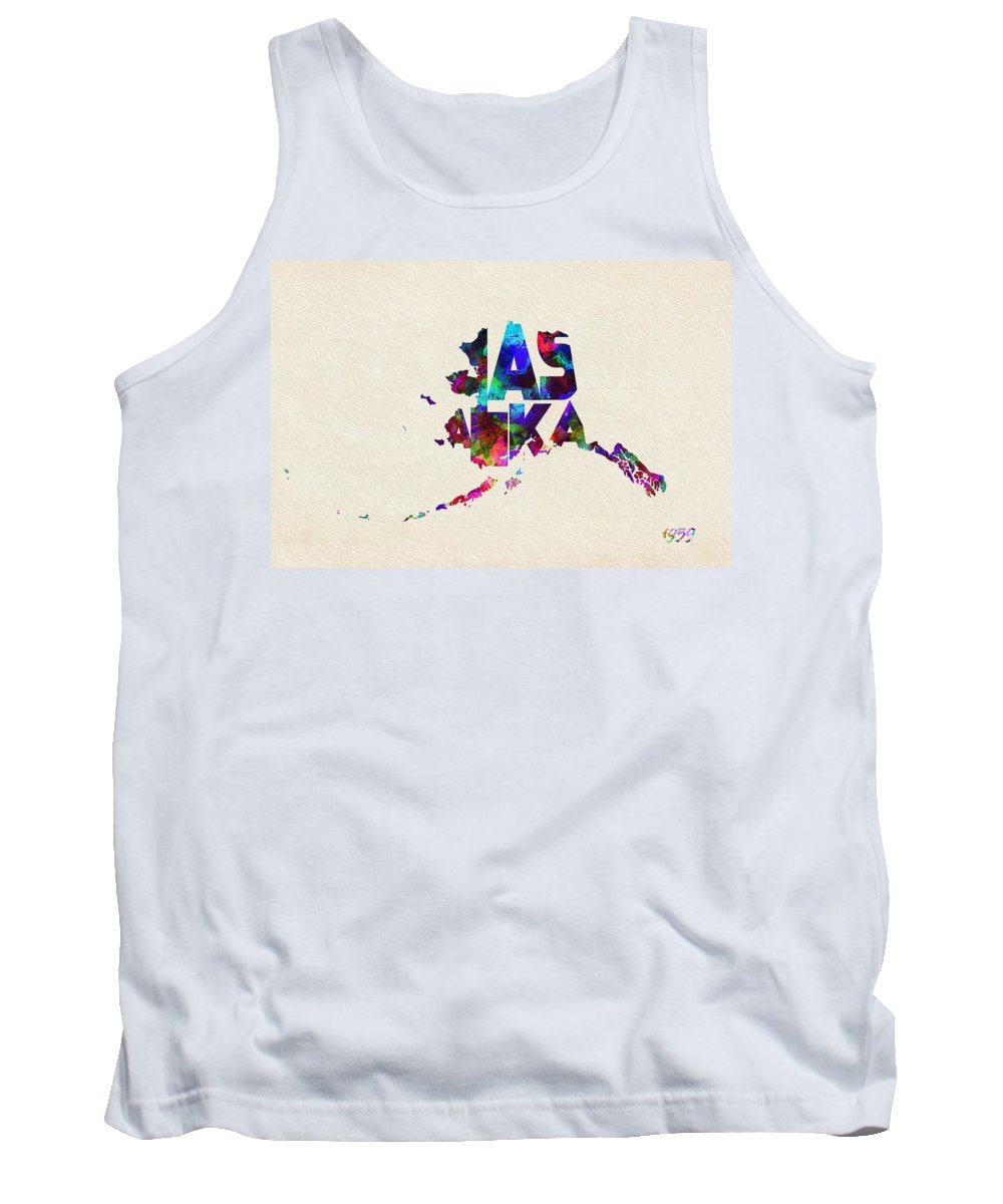 Alaska Tank Top featuring the painting Alaska Typographic Watercolor Map by Inspirowl Design
