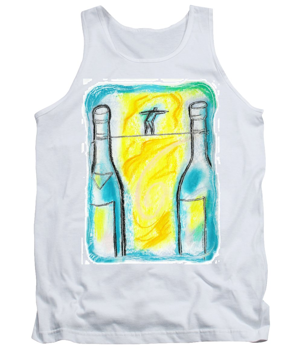 Addiction Alcohol Alcoholism Allure Anxiety Balance Bottle Bridge Chemical Dependency Color Color Image Colour Container Control Copy Space Craving Danger Dependency Difficulty Drawing Drug Drug Addiction Drug-use Drugs Exhilarating Food Food And Drink Hardship Hazard Illustration Illustration And Painting Intoxicating Issue Jeopardy Liquor Tank Top featuring the painting Alcoholism by Leon Zernitsky