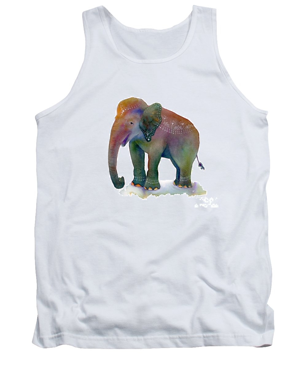 Elephant Tank Top featuring the painting All Dressed Up by Amy Kirkpatrick