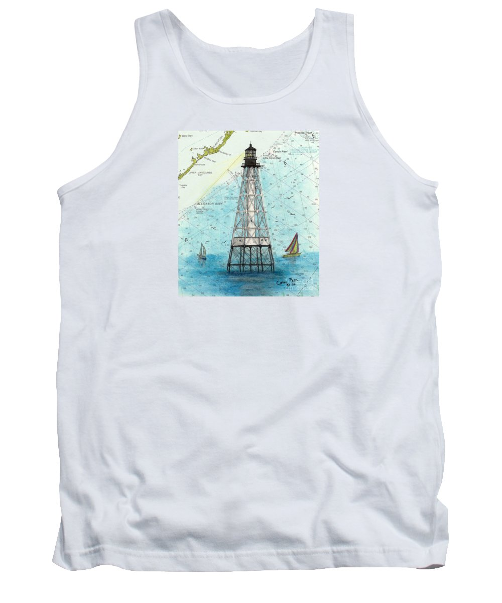 Alligator Tank Top featuring the painting Alligator Reef Lighthouse Fl Keys Nautical Map Cathy Peek by Cathy Peek