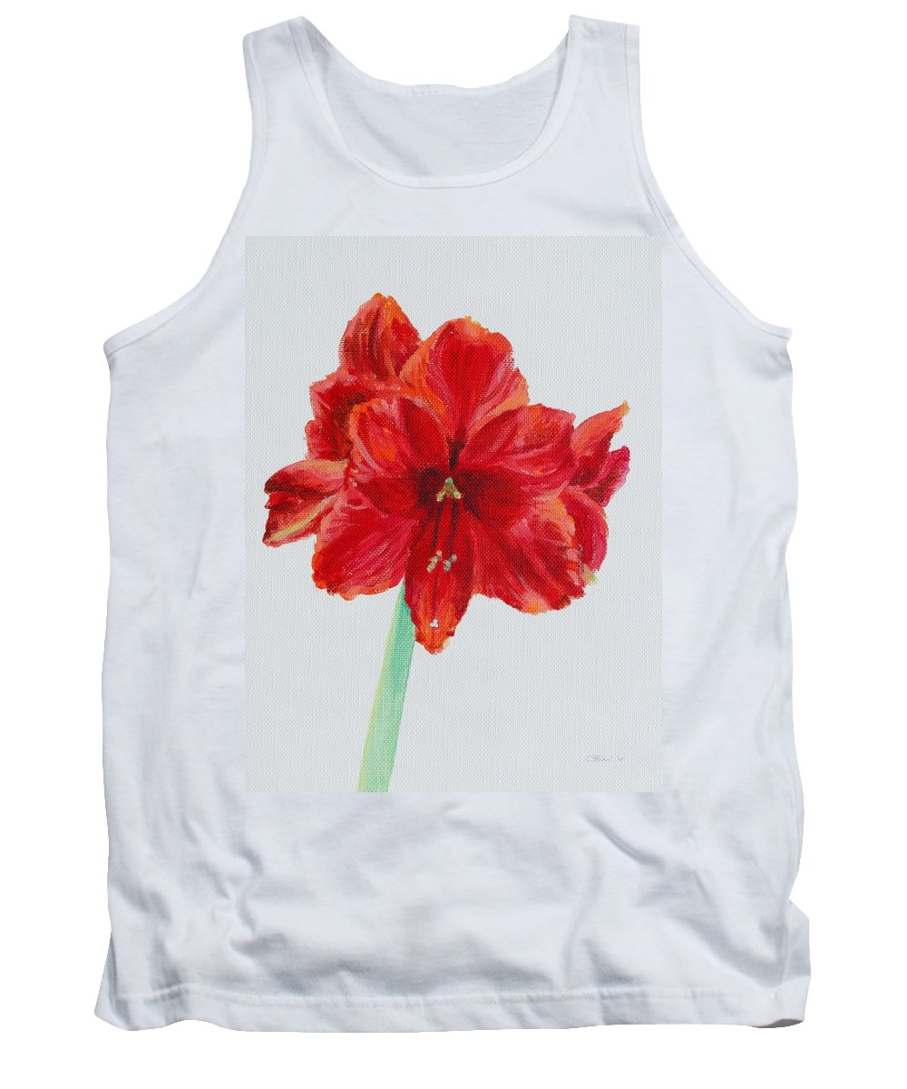 Red Tank Top featuring the painting Amaryllis by Michele Myers