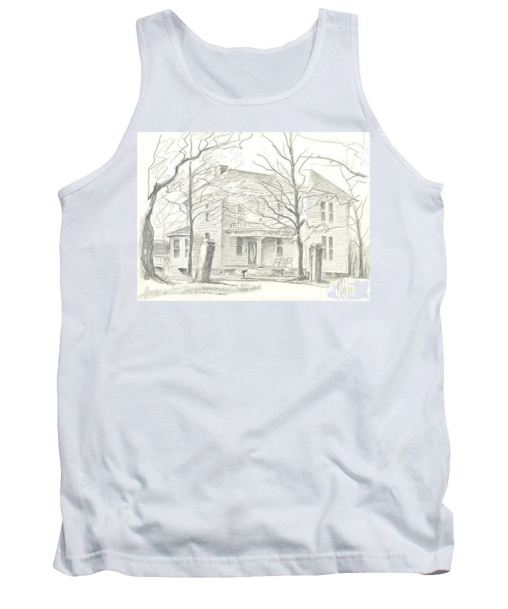American Home Ii Tank Top featuring the drawing American Home II by Kip DeVore