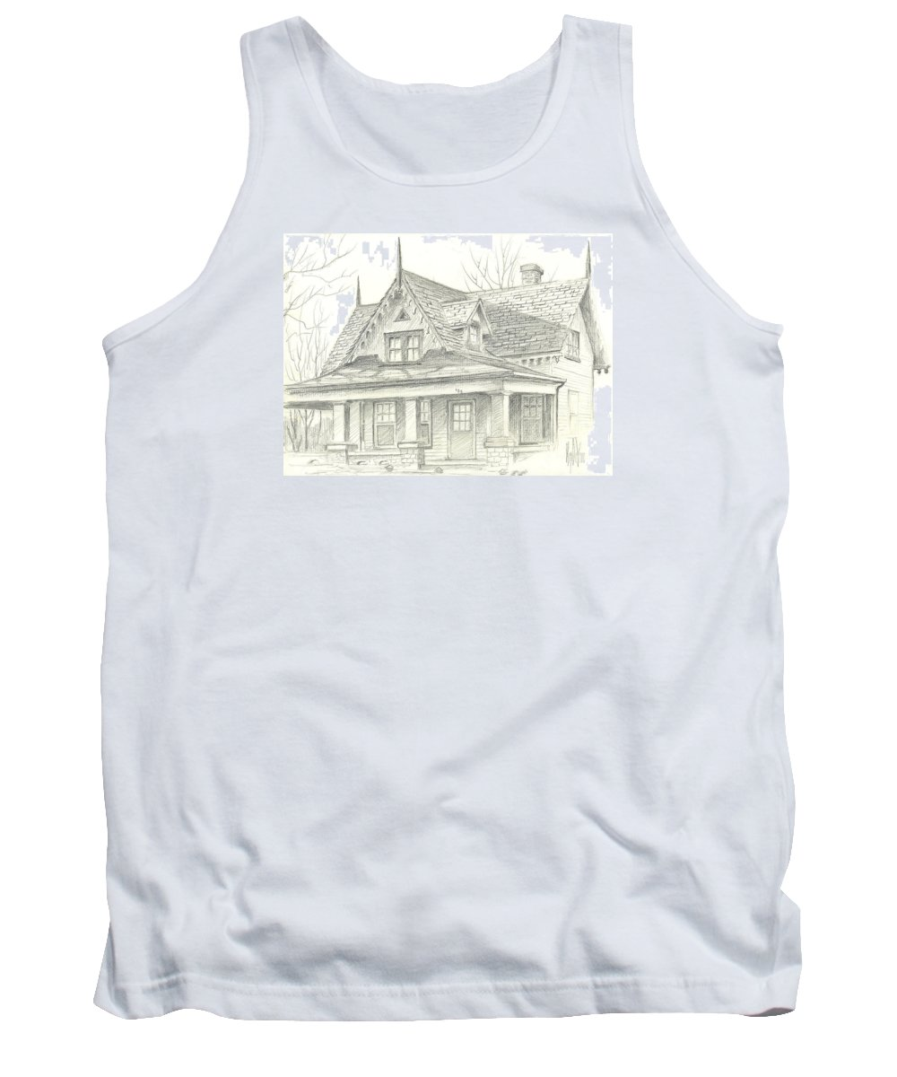 American Home Tank Top featuring the drawing American Home by Kip DeVore