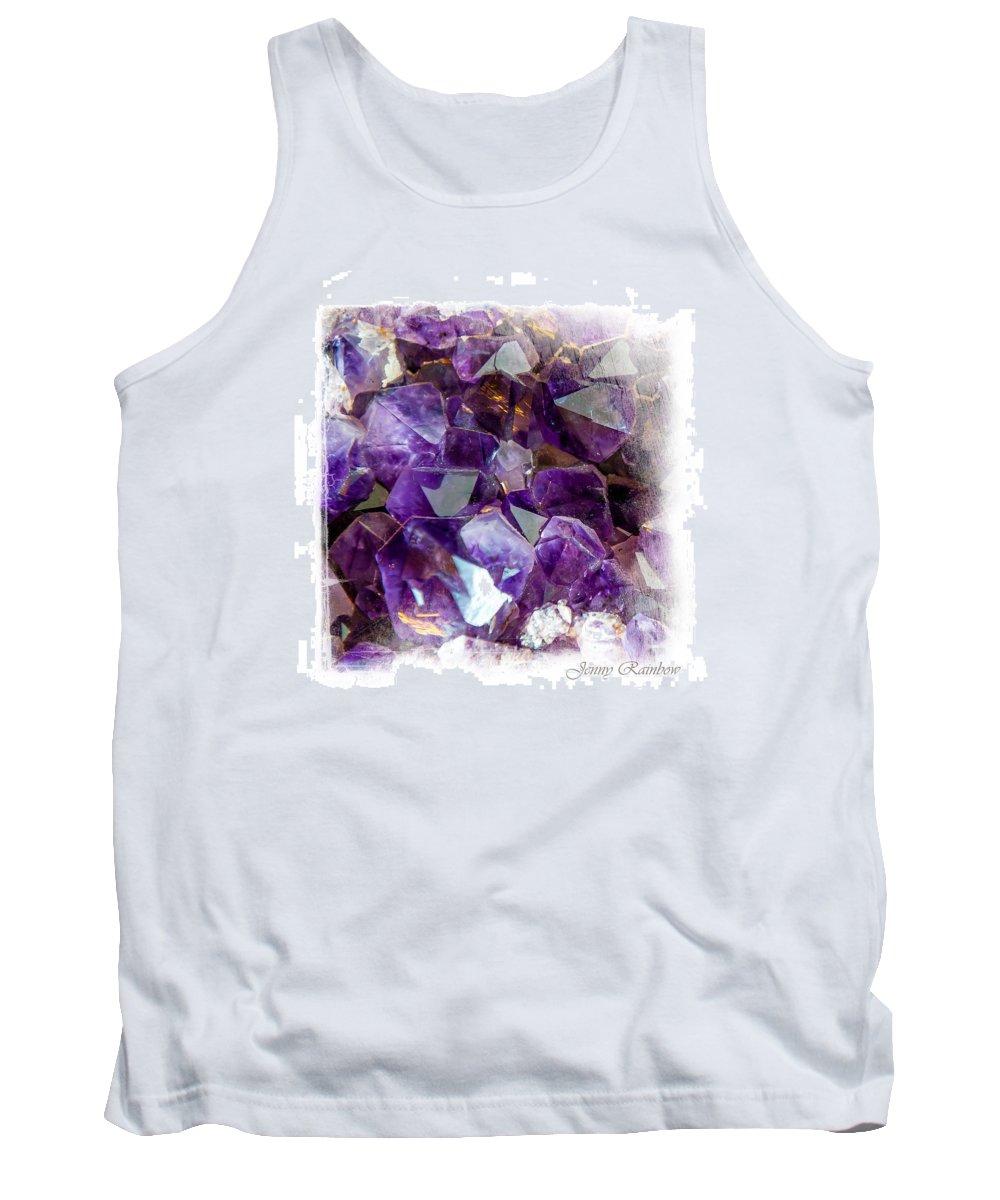 Amethyst Tank Top featuring the photograph Amethyst Crystals 1. Elegant Knickknacks by Jenny Rainbow