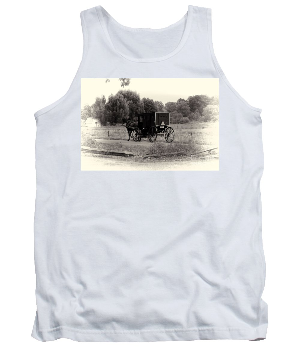 Horse Tank Top featuring the photograph Amish Buggy Sept 2013 by David Arment