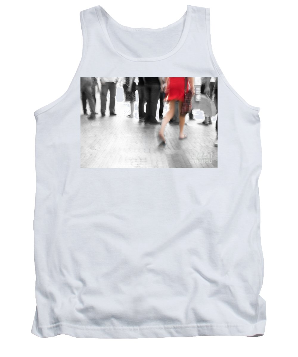 Action Tank Top featuring the photograph Among Black And White Big City Rush by Michal Bednarek
