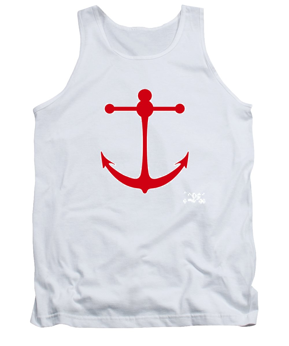 Graphic Art Tank Top featuring the digital art Anchor In Red And White by Jackie Farnsworth
