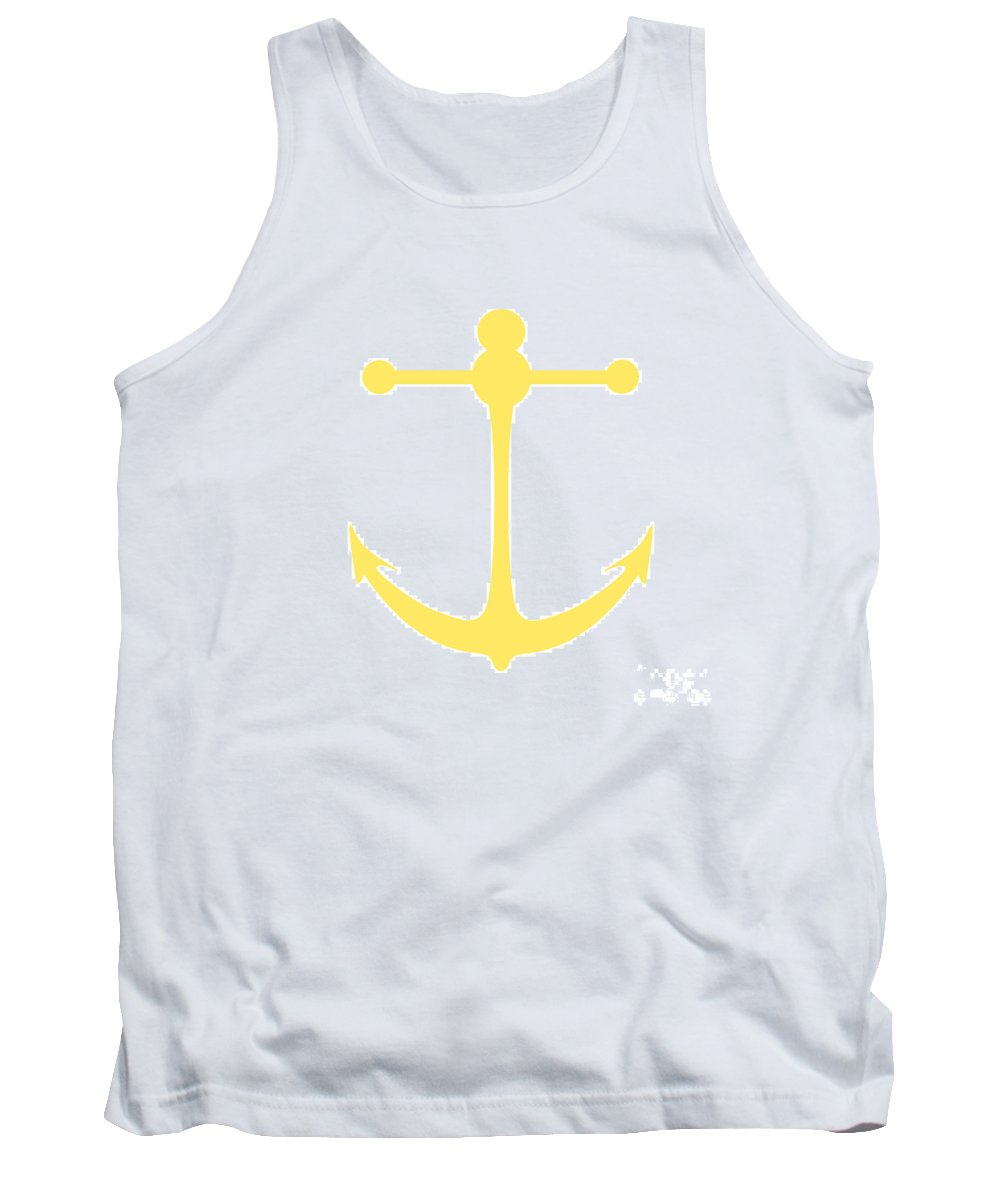 Graphic Art Tank Top featuring the digital art Anchor In Yellow And White by Jackie Farnsworth