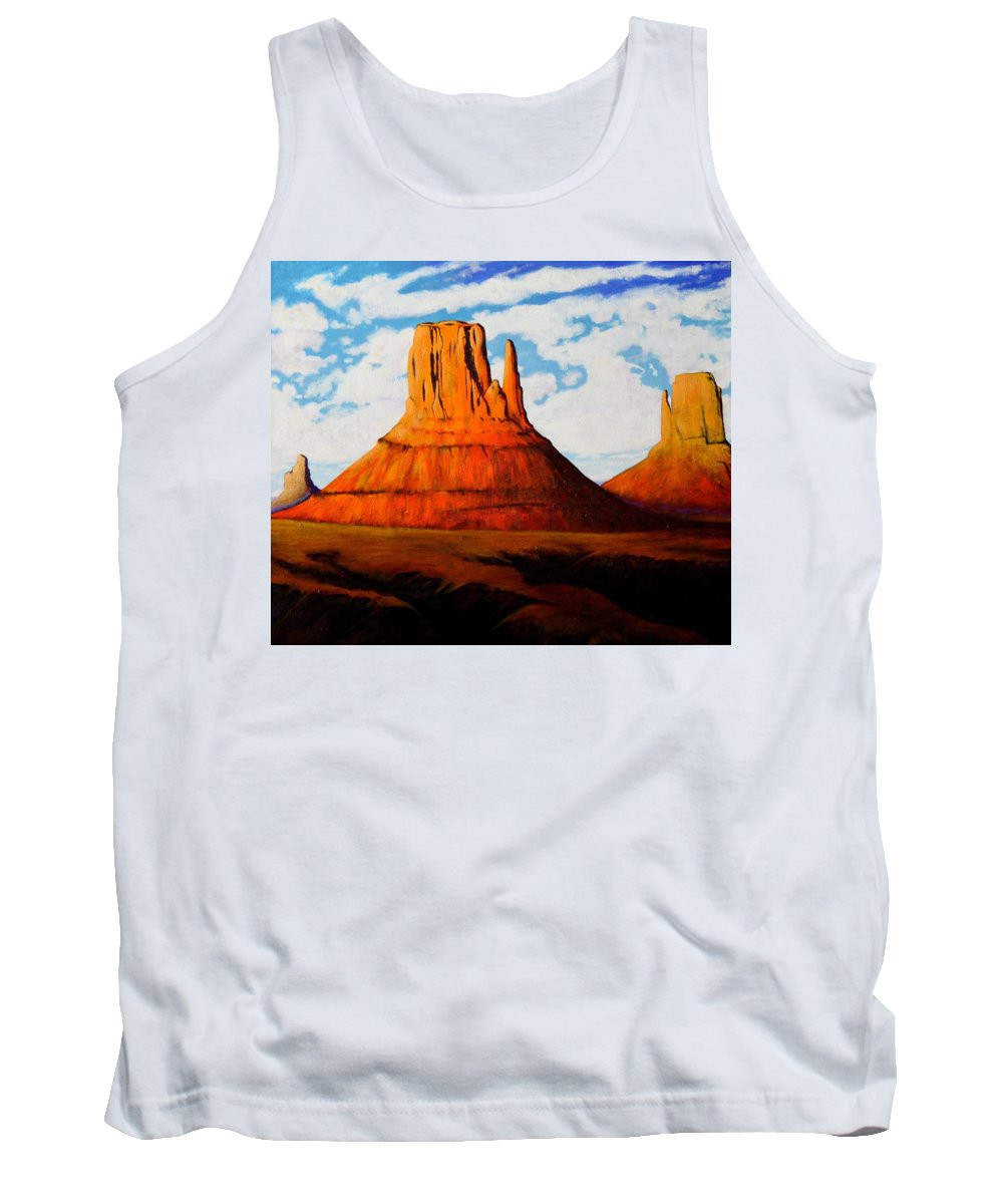 Landscape Of Western Usa Tank Top featuring the painting Ancient Land Monument Valley by Joe Triano