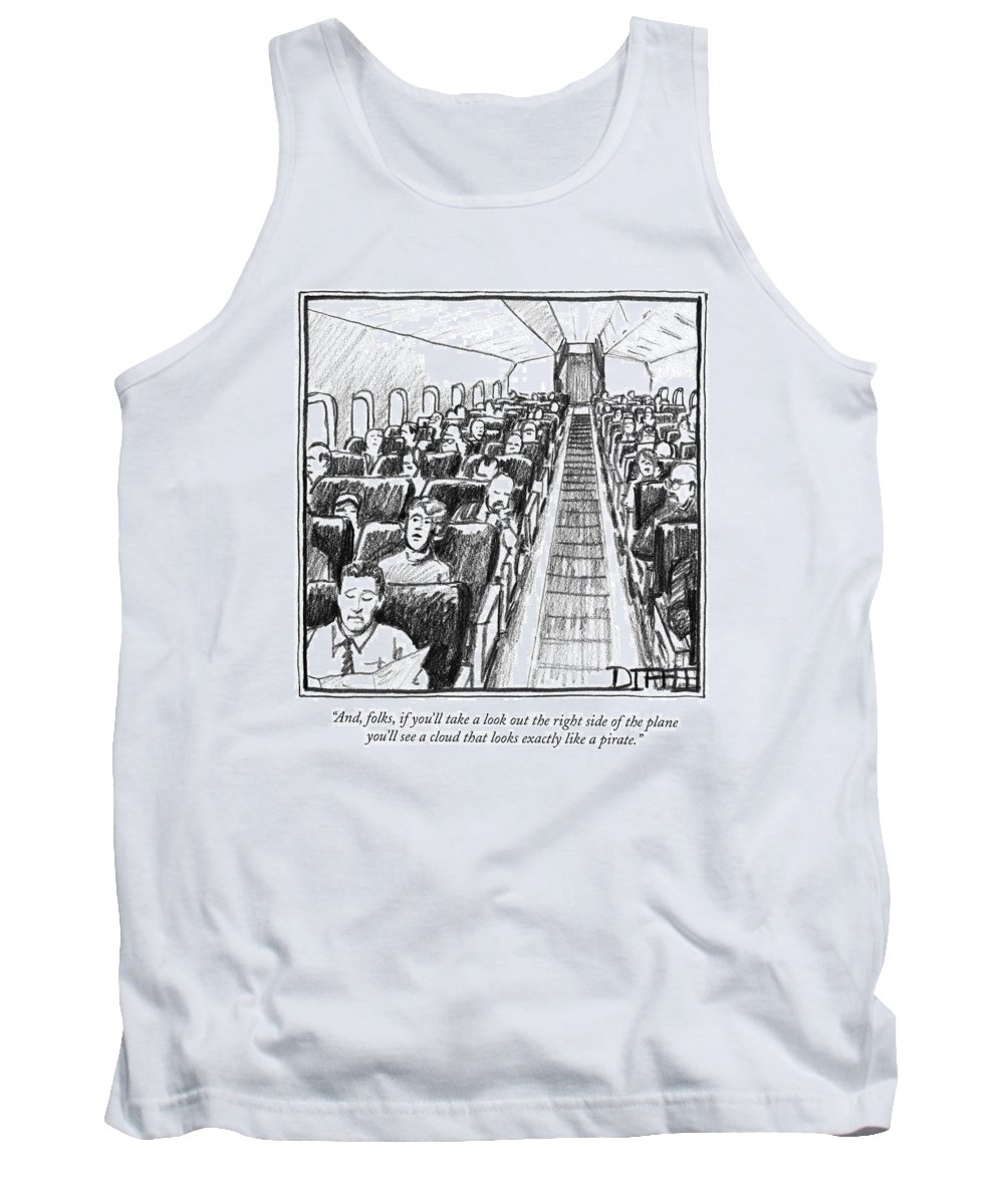 Pirates Tank Top featuring the drawing And, Folks, If You'll Take A Look Out The Right by Matthew Diffee