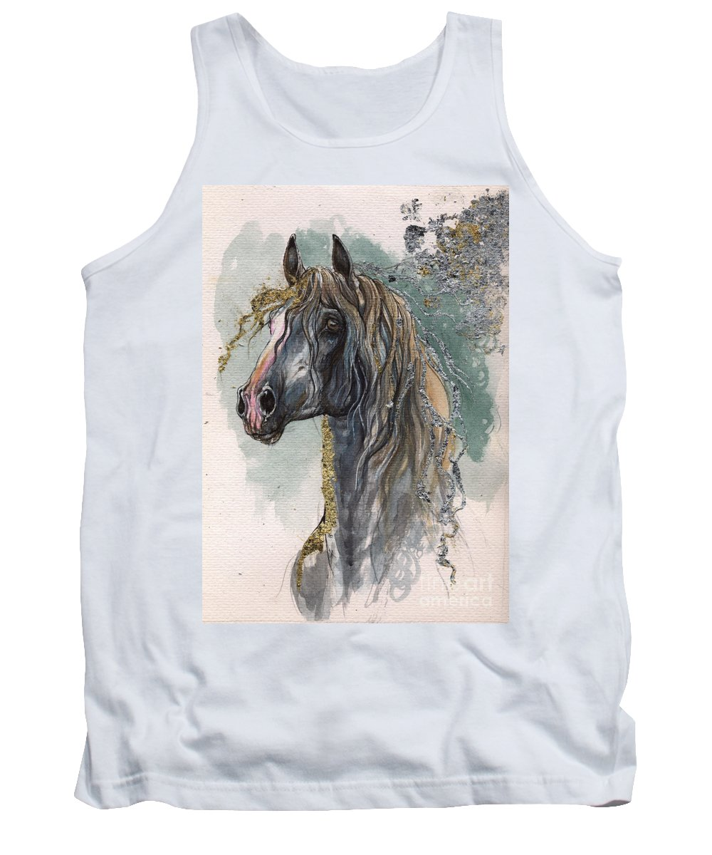 Horse Tank Top featuring the painting Andalusian Horse 2014 11 11 by Angel Ciesniarska