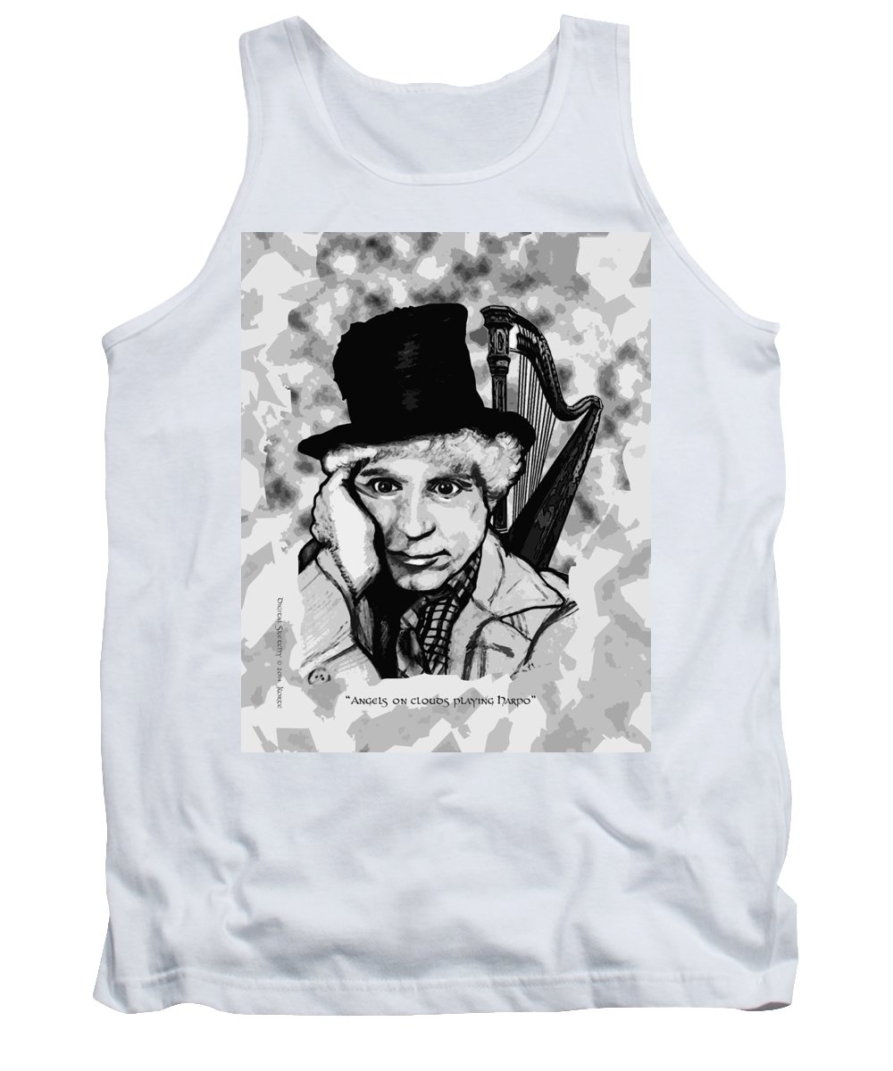 Marx Brothers Tank Top featuring the mixed media Angelsoncloudsplayingharpo by Christopher Korte