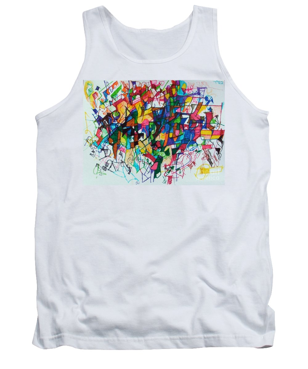 Daas Tank Top featuring the drawing Answers According To The Halacha 2 by David Baruch Wolk