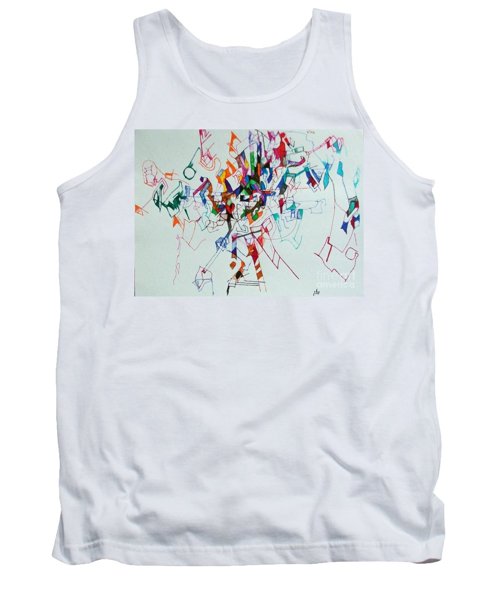 Torah Tank Top featuring the drawing Answers According To The Halacha 3 by David Baruch Wolk