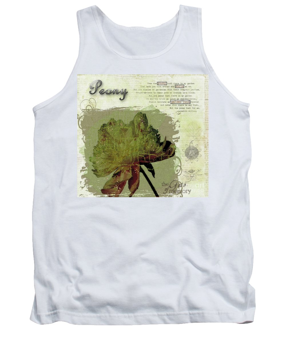 Peony Tank Top featuring the photograph Antique Peony by Gillian Singleton