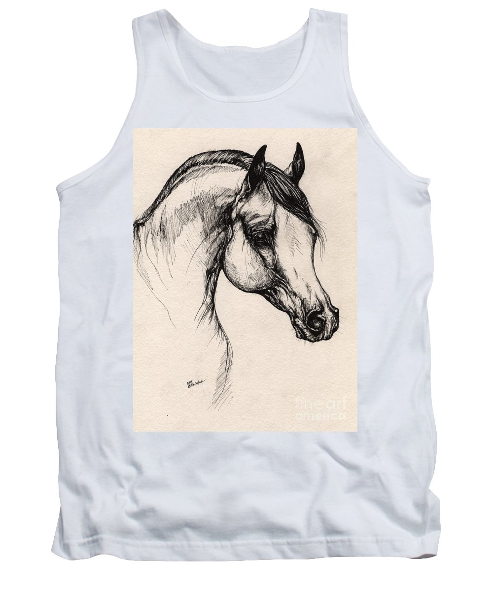 Horse Tank Top featuring the drawing Arabian Horse Drawing 24 by Angel Ciesniarska