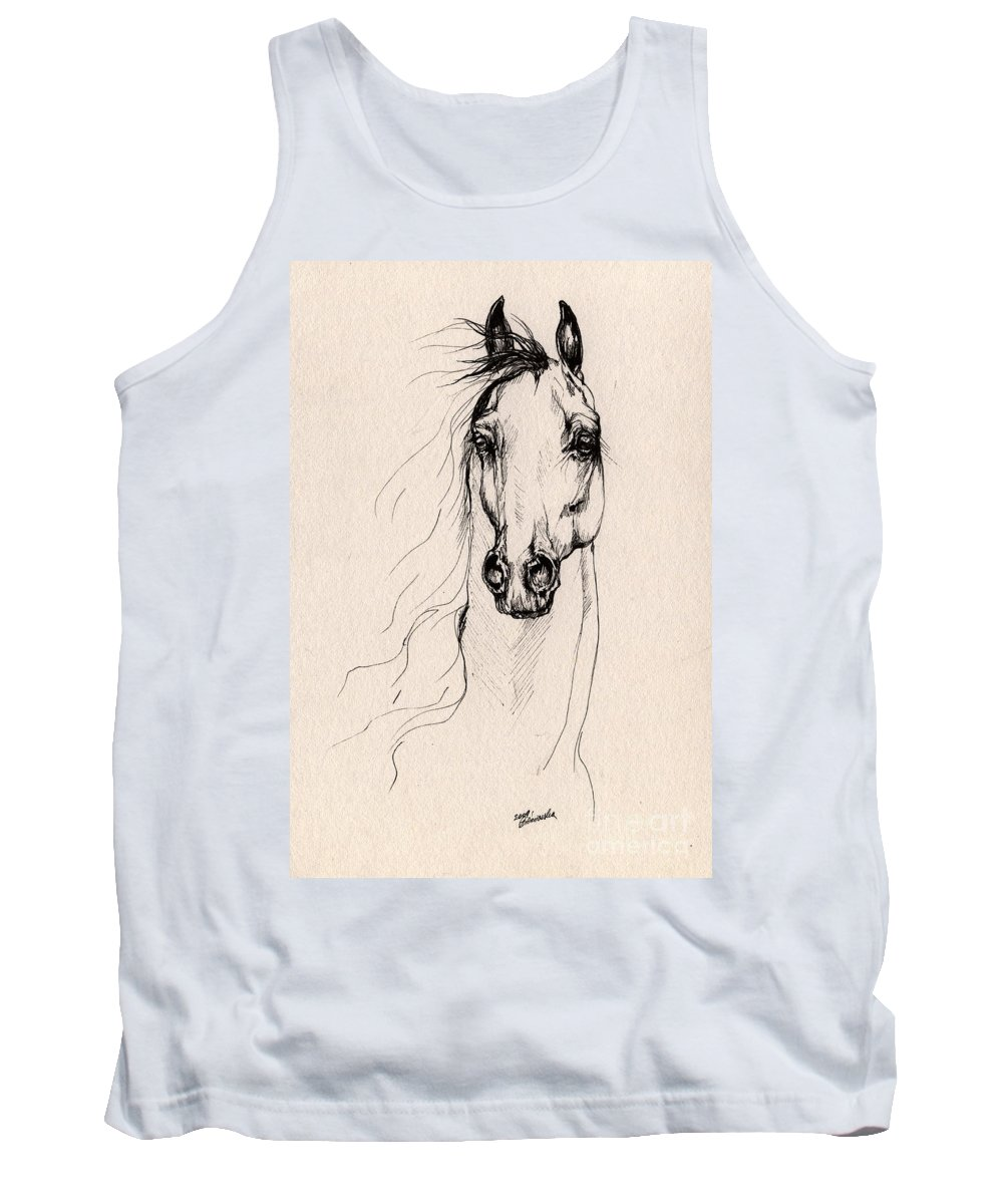 Horse Tank Top featuring the drawing Arabian Horse Drawing 25 by Angel Ciesniarska