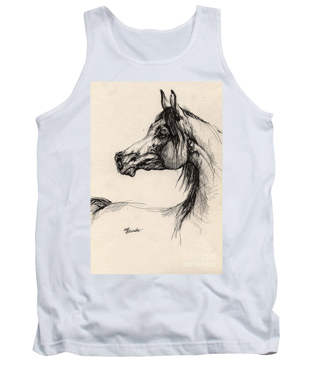 Horse Drawing Tank Top featuring the drawing Arabian Horse Drawing 26 by Angel Ciesniarska