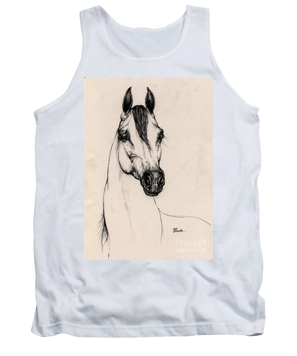 Arabian Horse Tank Top featuring the drawing Arabian Horse Drawing 29 by Angel Ciesniarska