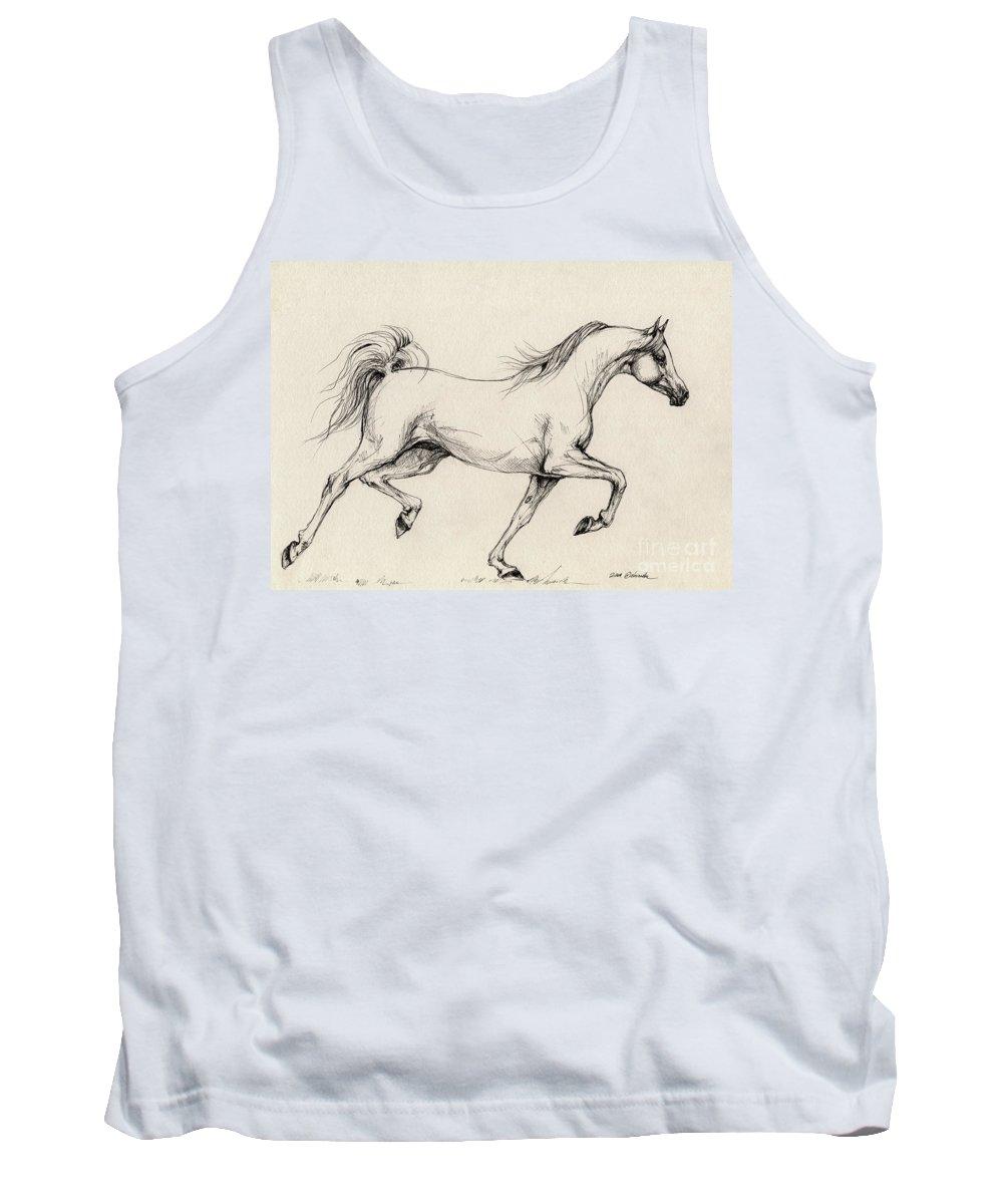 Grey Tank Top featuring the drawing Arabian Horse Drawing 31 by Angel Ciesniarska