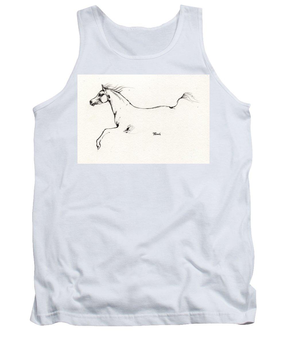 Horse Tank Top featuring the drawing Arabian Horse Sketch 2014 05 24 C by Angel Ciesniarska